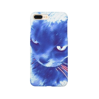 L&T(斜め・白青猫1) Smartphone cases
