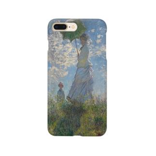 meiga-クロード・モネ-散歩、日傘をさす女性(スマホケース) Smartphone cases