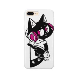 音楽が好きな黒猫 Smartphone cases