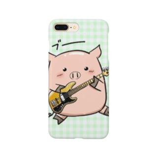 豚:ギター/緑 @気ままな雑貨屋さんらんず Smartphone cases