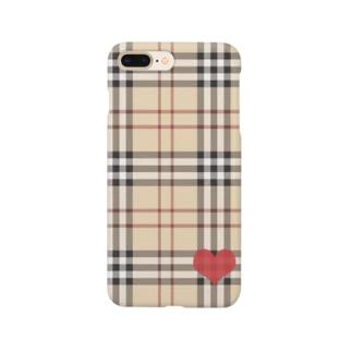 タータンチェックwithハート Smartphone cases
