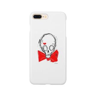 スカル×蝶ネクタイ(カラー) Smartphone cases