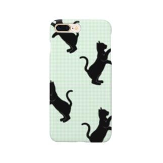 ネコ:シルエット:緑色@気ままな雑貨屋さんらんず スマートフォンケース Smartphone cases