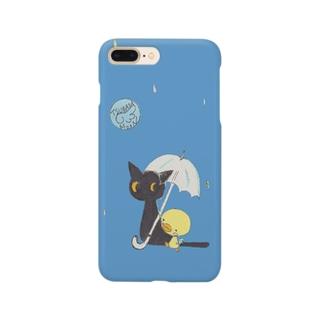 天使のひよこちゃんと黒猫ムーン 雨ふり Smartphone cases