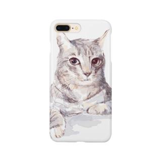 百合の筆のそんなにみつめないで!ドキドキしちゃうから♪かわいい猫のイラスト Smartphone cases