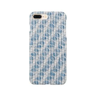 青と白のまる模様織り Smartphone cases
