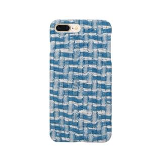 青と白のまる模様織り_裏 Smartphone cases