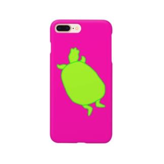 カメシルエット(黄緑×濃ピンク) Smartphone cases