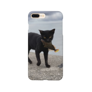 AMURITANONIWA-OFF LINE ART SHOPの魚をくわえた島猫 Smartphone Case