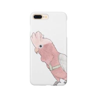 ご機嫌モモイロインコちゃん【まめるりはことり】 Smartphone cases