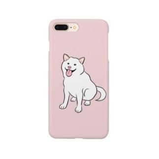 おすわり白柴(ピンク) Smartphone cases