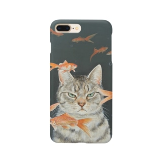 金魚と猫 スマートフォンケース