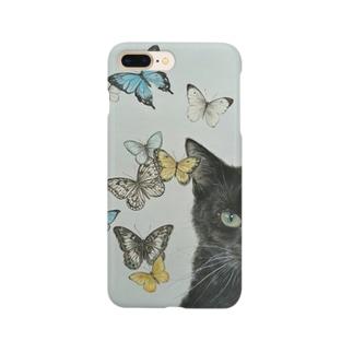 猫に蝶 スマートフォンケース