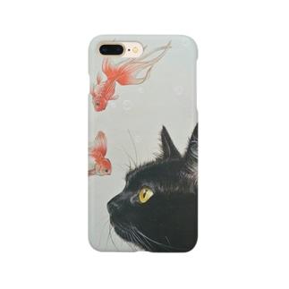 金魚と黒猫 スマートフォンケース