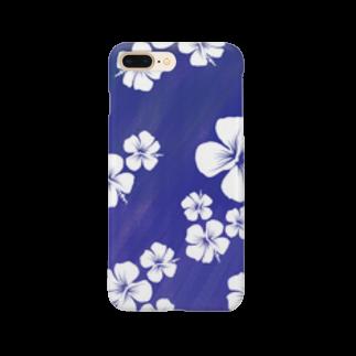 chicodeza by suzuriの瑠璃色のおしゃれハイビスカスのスマホケース Smartphone cases