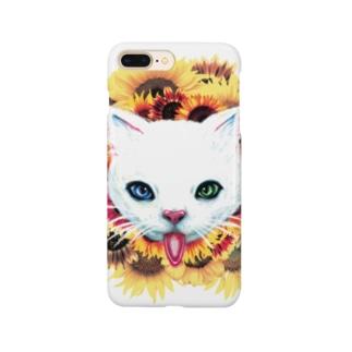 白猫と向日葵 スマートフォンケース