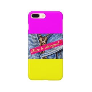 デニムプリント👖ピンクイエロー💖💛 Smartphone cases