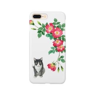 赤いバラとハチワレ子猫 スマートフォンケース