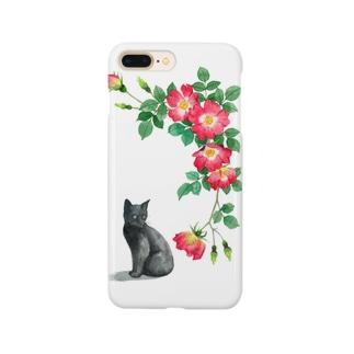 赤いバラと黒子猫 スマートフォンケース