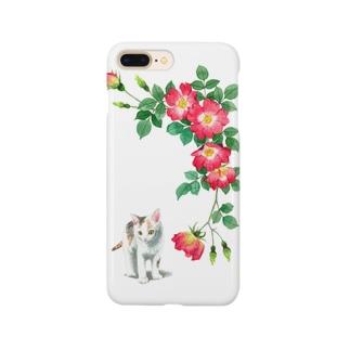 赤いバラと白三毛子猫 スマートフォンケース
