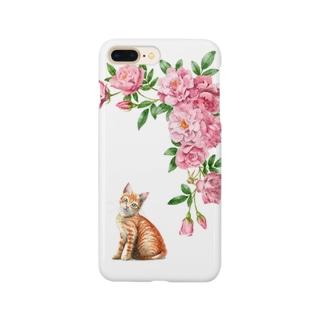 ピンクのバラと茶トラ子猫 スマートフォンケース