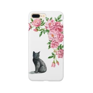 ピンクのバラと黒子猫 スマートフォンケース