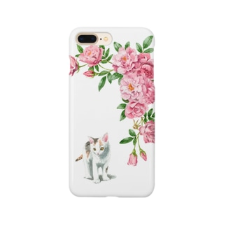 ピンクのバラと白三毛子猫 スマートフォンケース