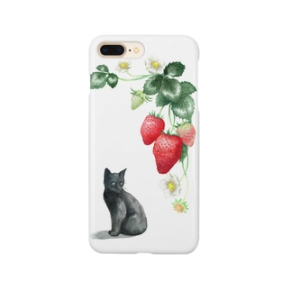 いちごと黒子猫 スマートフォンケース