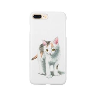 白三毛子猫 スマートフォンケース