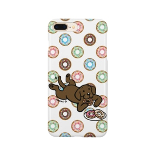 ドーナツをつまむチョコレートラブラドール Smartphone Case