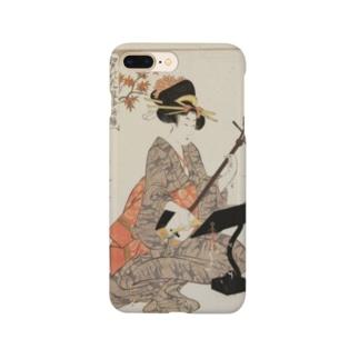 ukiyoe-bijinga-utamaro 江戸の花娘浄瑠璃 紅葉(スマホケース) Smartphone cases
