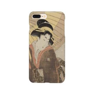 ukiyoe-bijinga-utamaro 雪中に傘を持つ美人(スマホケース) Smartphone cases