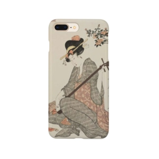ukiyoe-bijinga-utamaro 江戸の花娘浄瑠璃 椿(スマホケース) Smartphone cases