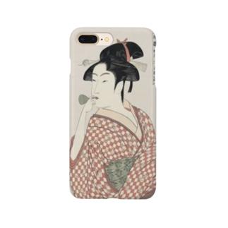 ukiyoe-bijinga-utamaro 婦女人相十品ビードロを吹く娘(スマホケース) Smartphone cases