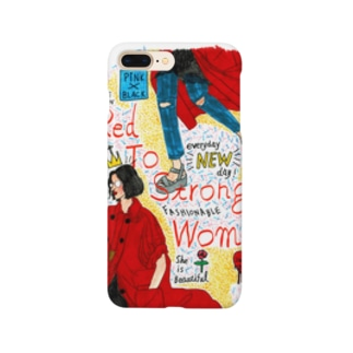 red to strong women スマートフォンケース