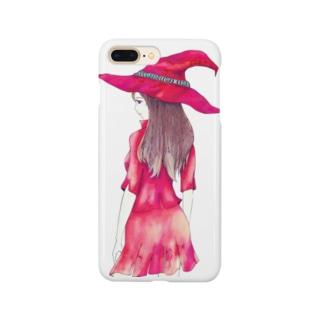 赤い魔女のイラストスマホケース Smartphone cases