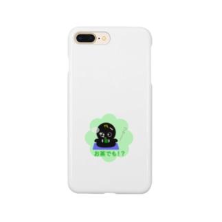 おねがいオバケ 黒 お茶でも ! ?(スマホケース) Smartphone cases
