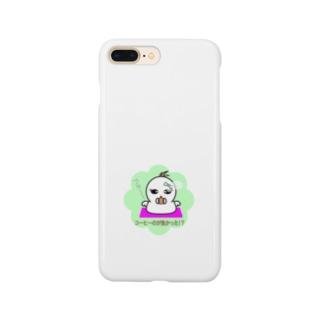 tomo-miseのおねがいオバケ 白 コーヒーのが良かった?!!(スマホケース) Smartphone cases