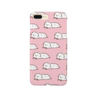 ずっと寝てる犬まみれ(ピンク) Smartphone cases