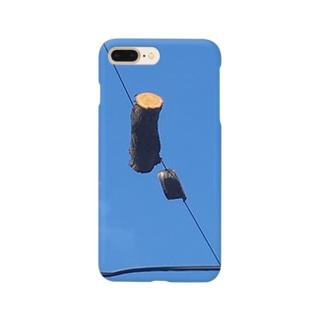 電線と桜の木 Smartphone cases