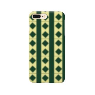 緑×クリームチェック Smartphone cases