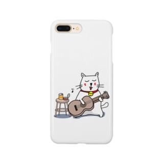 白猫のネコ先輩 ギターぽろろん Smartphone cases