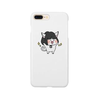 おかっぱ猫ぶんちゃん(白) Smartphone cases