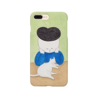 仲良しな白猫と少年 Smartphone cases