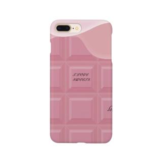 Ribbon-corsage*のピンクチョコレート Smartphone cases