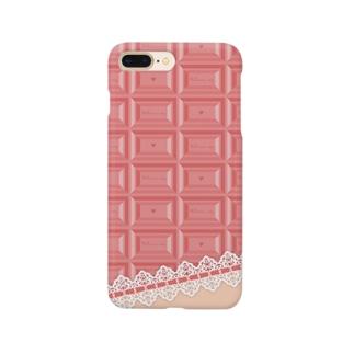 Ribbon-corsage*のピンクチョコレート2 Smartphone cases