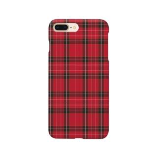 タータンチェック/レッド Smartphone cases