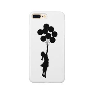 風船で浮く女の子バンクシー(banksy) Smartphone cases