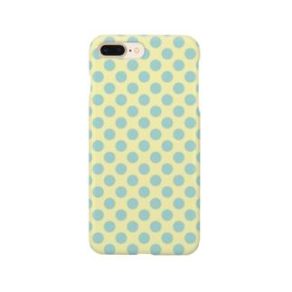 水玉 青緑+背景卵色 Smartphone cases