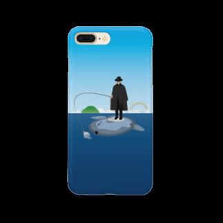 めぐみさらしのマンボウに乗った旅人スマートフォンケース